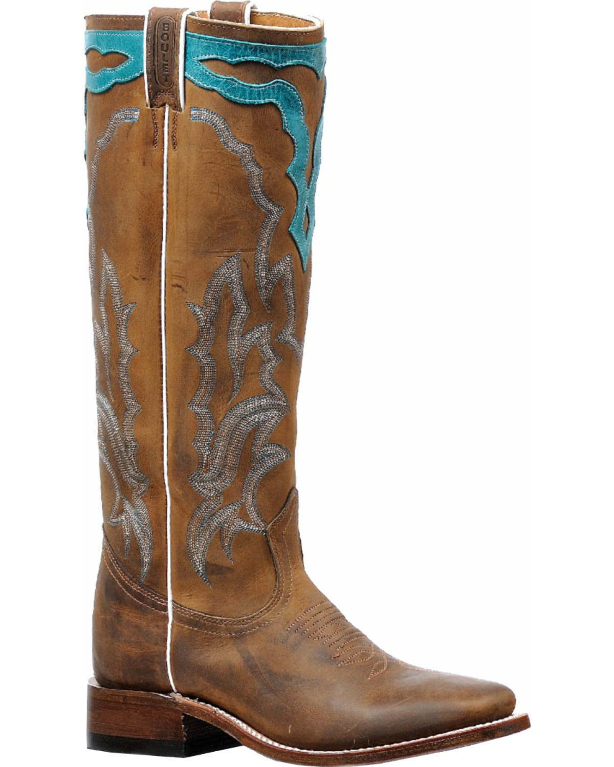 4c3fc2728f5 Boulet Women's Brown Cowboy Tall Western Boots - Square Toe