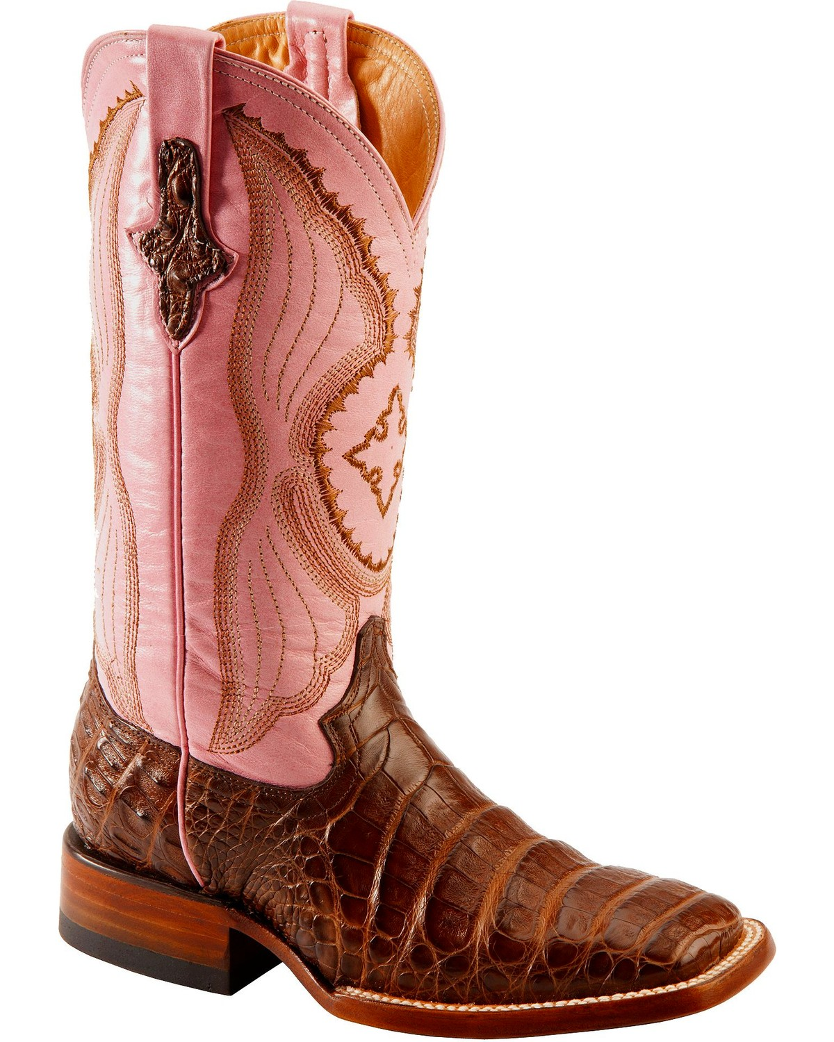 Ferrini Blush Pink Caiman Belly Cowgirl Boots Wide