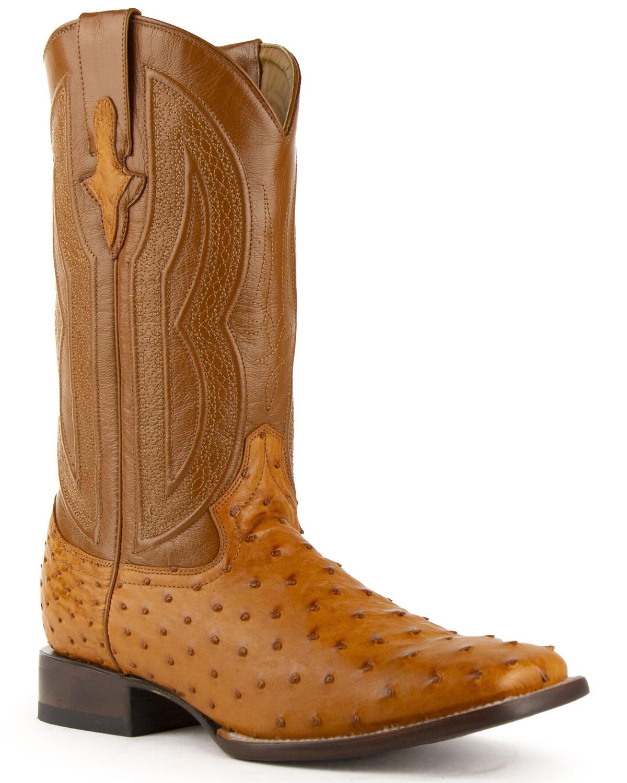 5f3d1ad3b35 Ferrini Men's Full Quill Ostrich Exotic Western Boots