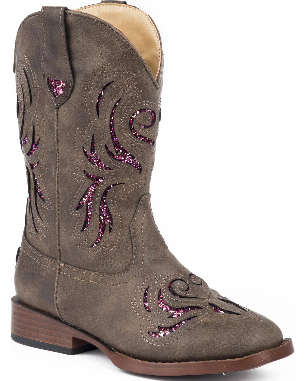 Roper Girls Brown Amp Pink Glitter Breeze Cowgirl Boots