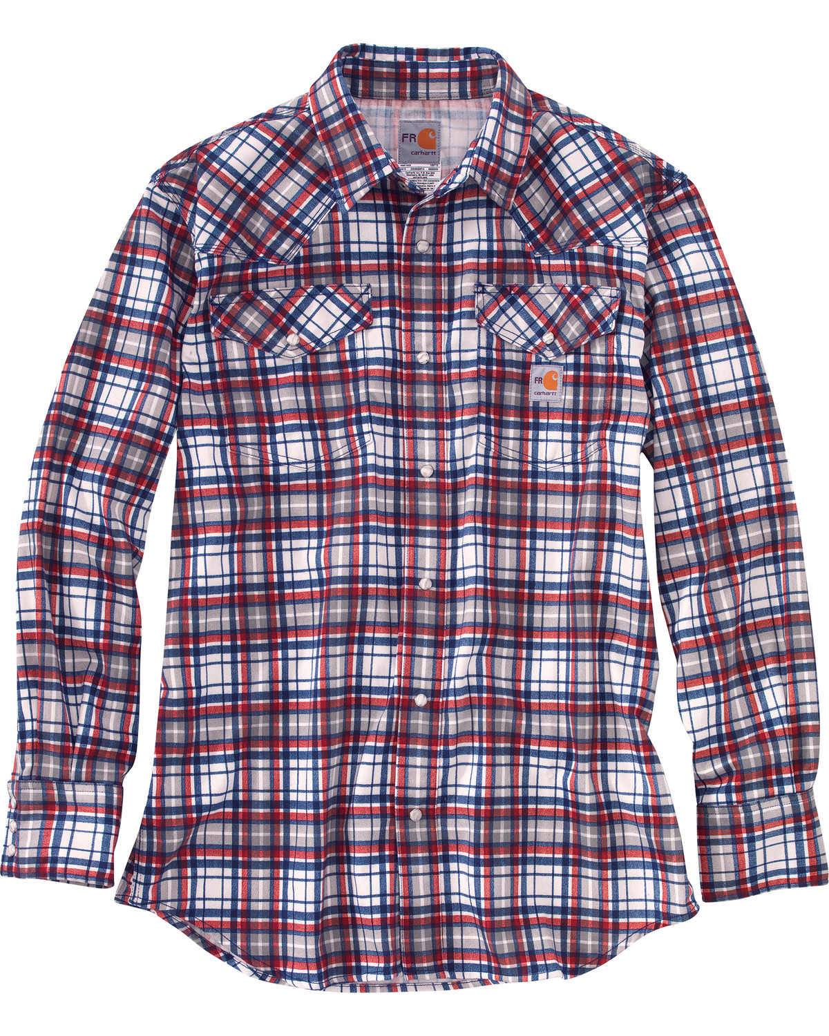 9a052c76ecec Carhartt Men s Red Flame-Resistant Snap-Front Plaid Shirt - Tall ...