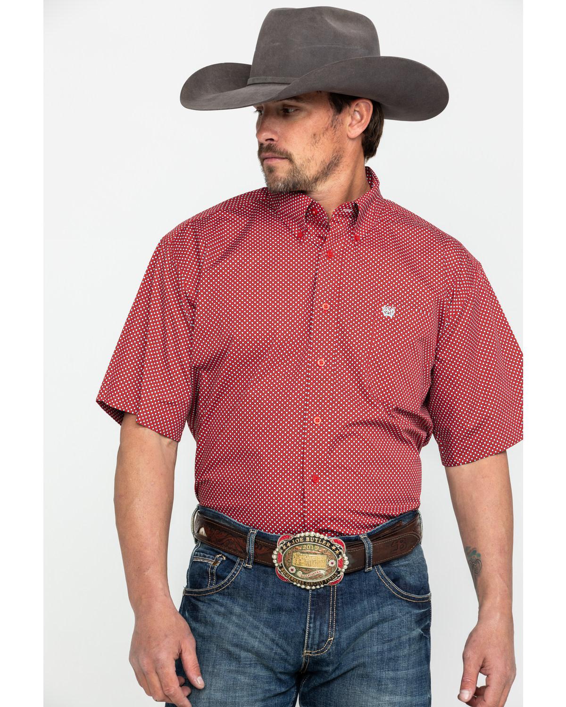 825f091a3b Cinch Men's Red Tencel Geo Print Short Sleeve Western Shirt