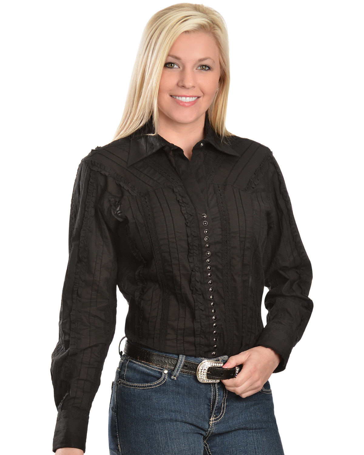 7868048b Zoomed Image Scully Women's Lace Western Shirt, Black, hi-res. Zoomed Image  ...