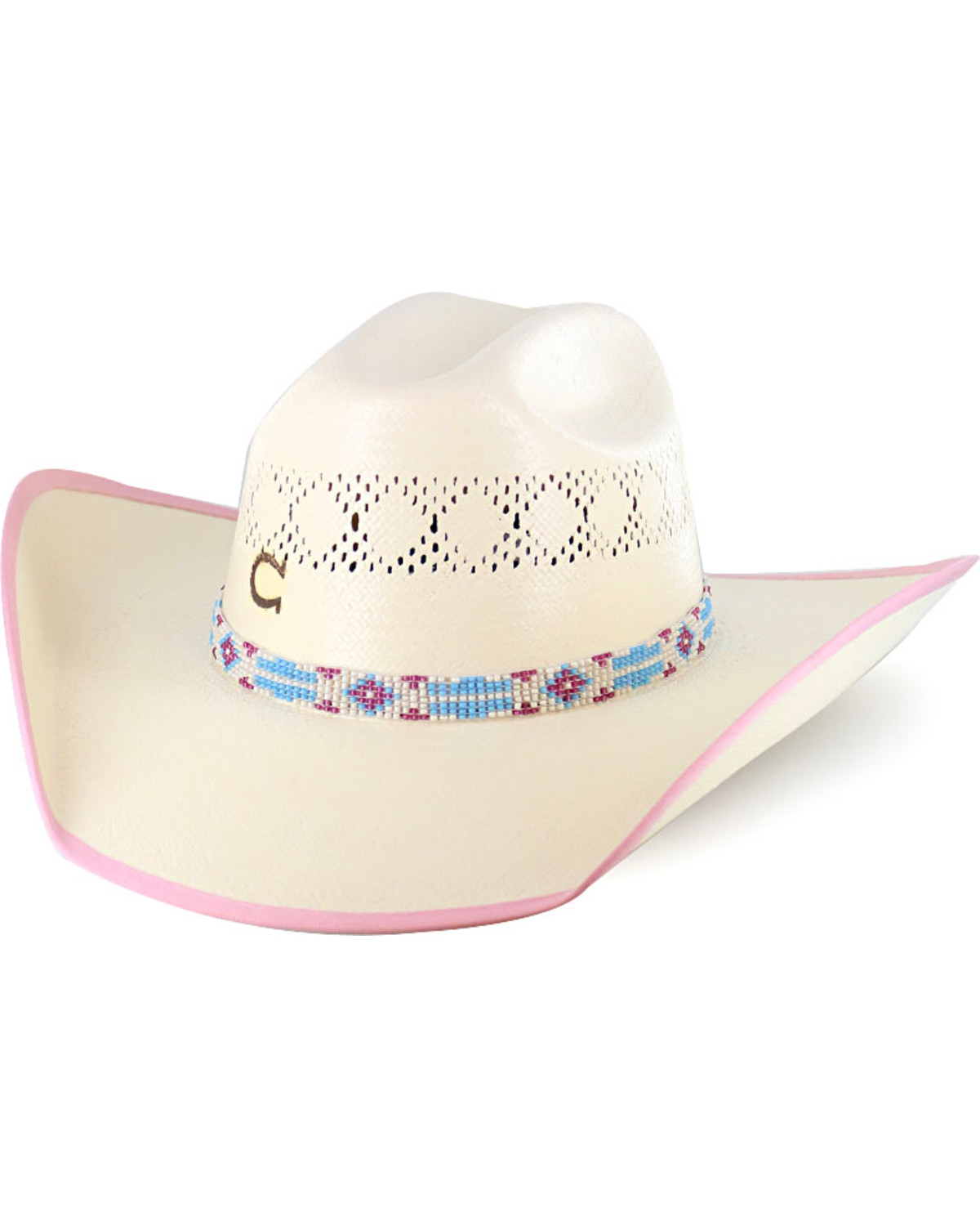 65f45bd76121b4 Zoomed Image Charlie 1 Horse Girls' Gracie Straw Hat, Natural, ...