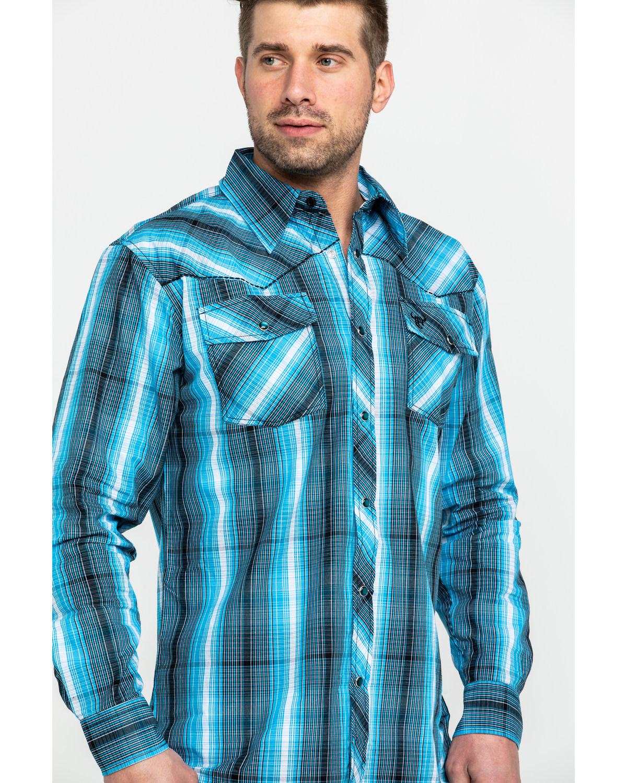 cab056ea4e6 Cowboy Hardware Men s Midnight Plaid Long Sleeve Western Shirt ...