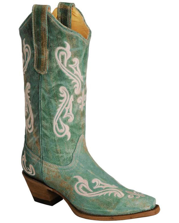 7874737c673 Corral Cortez Fleur-De-Lis Turquoise Cowgirl Boots - Snip Toe