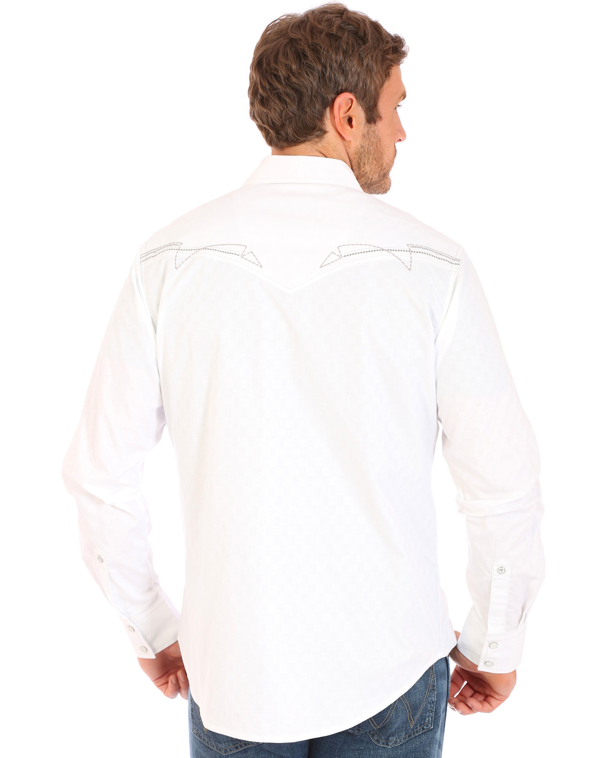Wrangler Mens Rock 47 White Embroidered Stitch Long Sleeve Snap