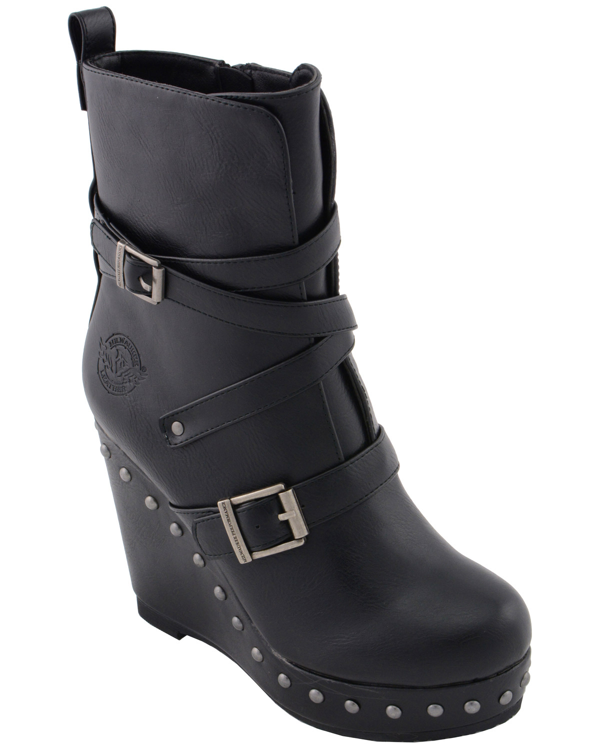 1a9b1a68f99 Milwaukee Leather Women s Triple Strap Wedge Boots - Round Toe ...