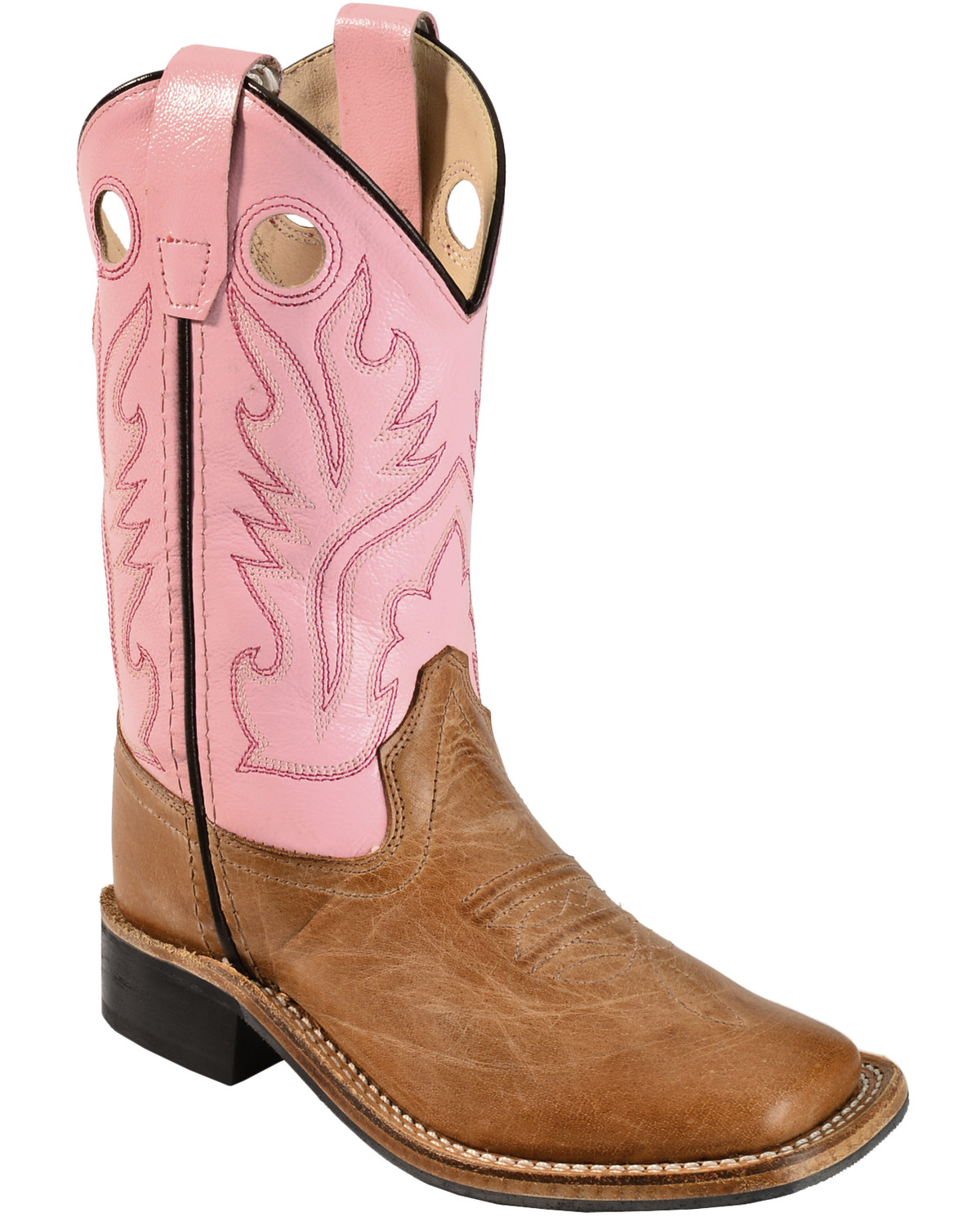 b74f5b91744e8 Old West Girls  Pink Cowgirl Boots - Square Toe
