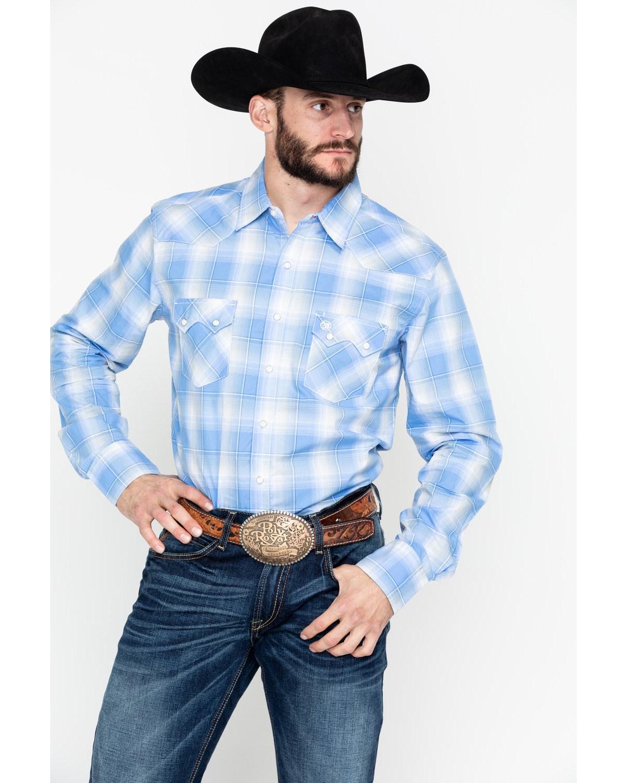 abce45e4 Zoomed Image Wrangler Retro Men's Plaid Long Sleeve Western Shirt - Tall ,  Blue, hi-res. Zoomed Image ...