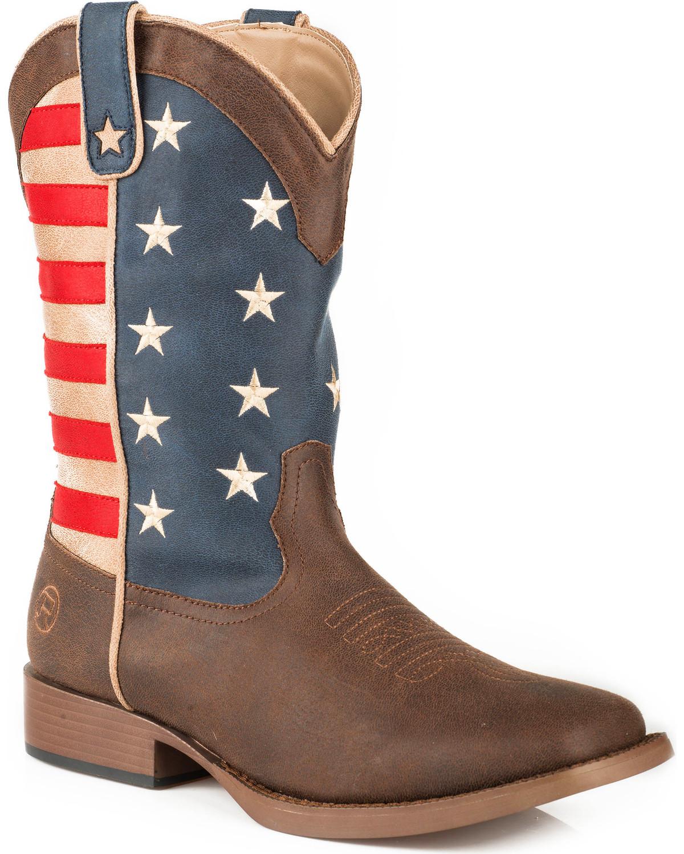 c989c845de6 Roper Men s Brown American Patriot Western Boots - Square Toe