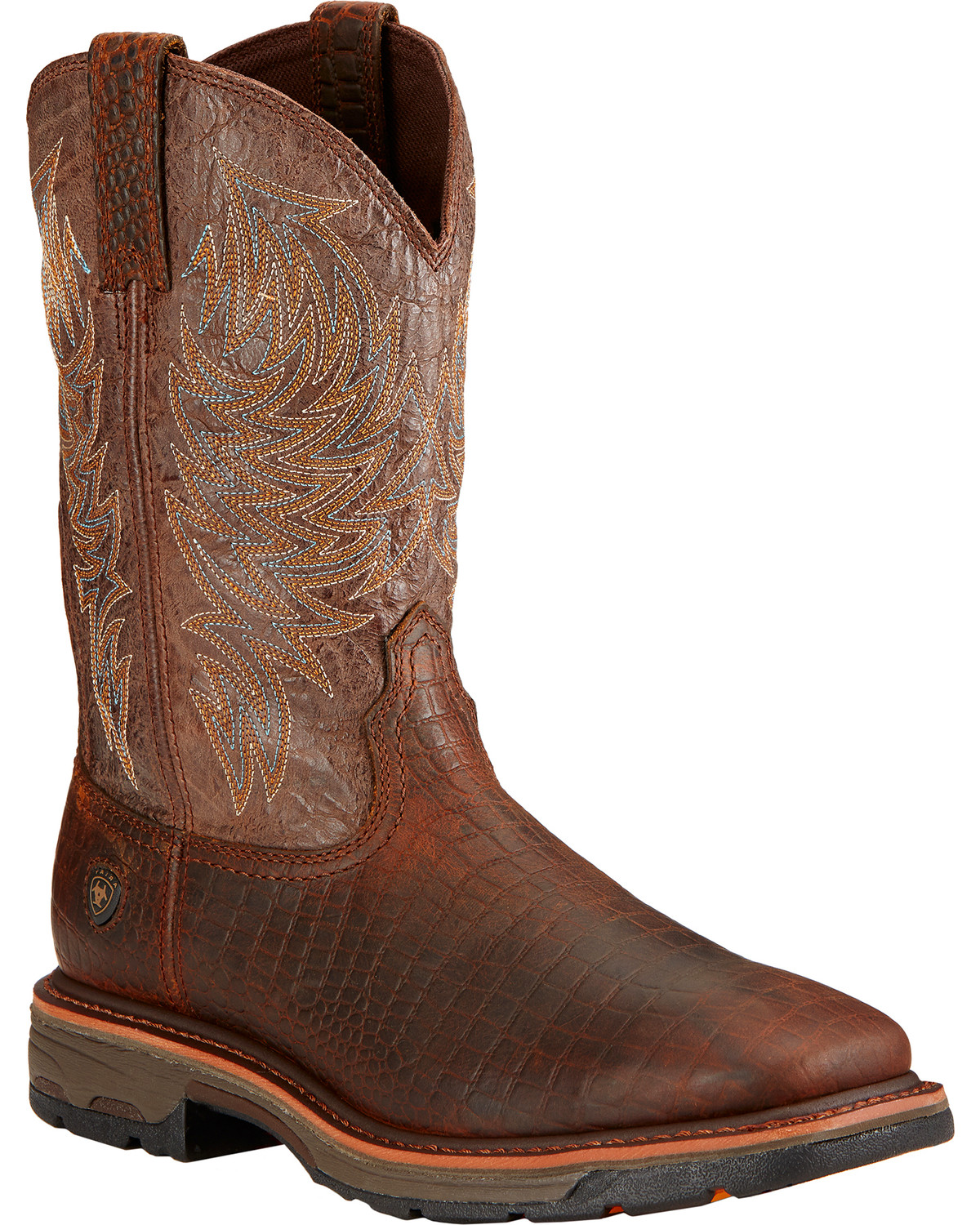 86f8848b25e Ariat Workhog Croc Print Wide Square Toe Work Boots | Boot Barn