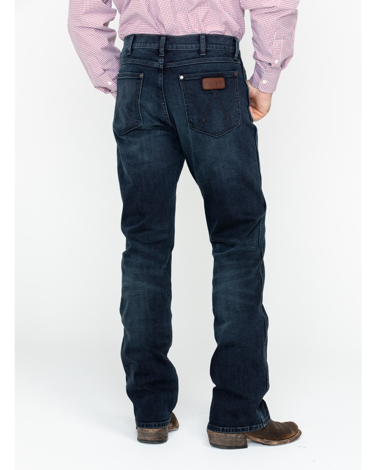Wrangler Retro Men S Blue Relaxed Stretch Bootcut Jeans Boot Barn
