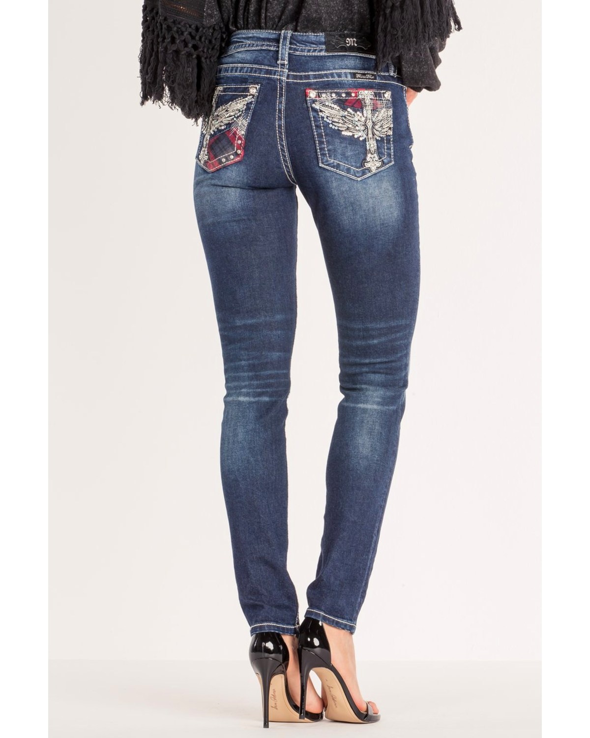 Miss Me Women s Winged Cross Mid-Rise Skinny Jeans  c664b3e05