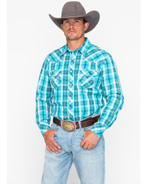 c2b11b58 Zoomed Image Rock & Roll Cowboy Men's Poplin Plaid Snap Long Sleeve Western  Shirt , Blue, ...