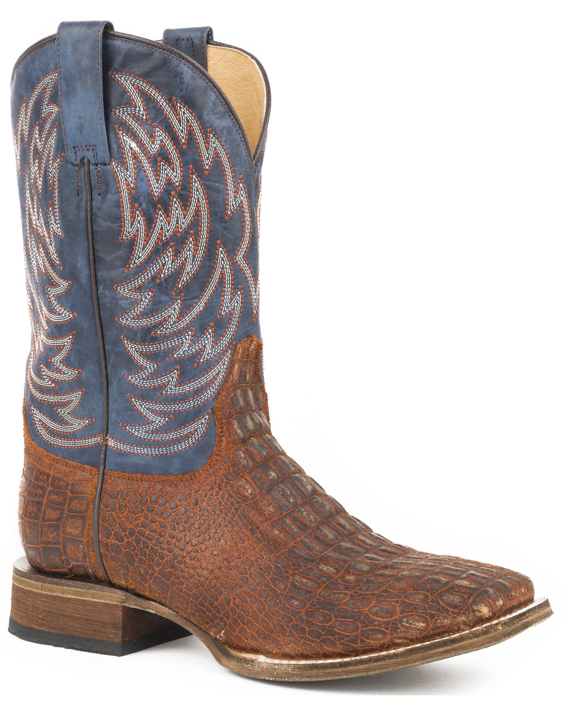 0c4cd84bb88 Roper Men's Lars Vintage Cognac Embossed Caiman Cowboy Boots - Square Toe