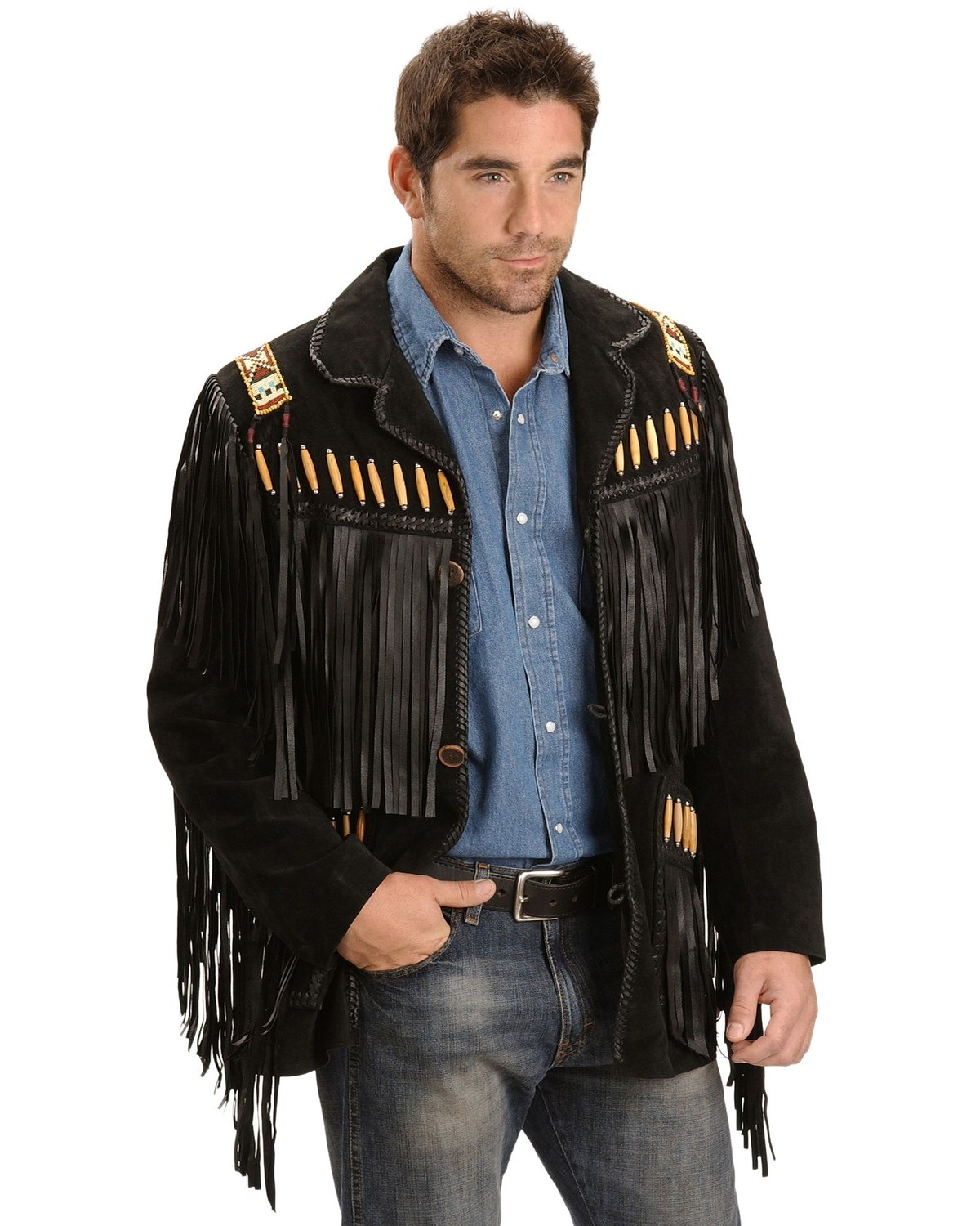 Beaded Fringe Scully Leather Jacket Men/'s 40 American Indian Inspired Bead Work Long Leather Fringe Black Leather
