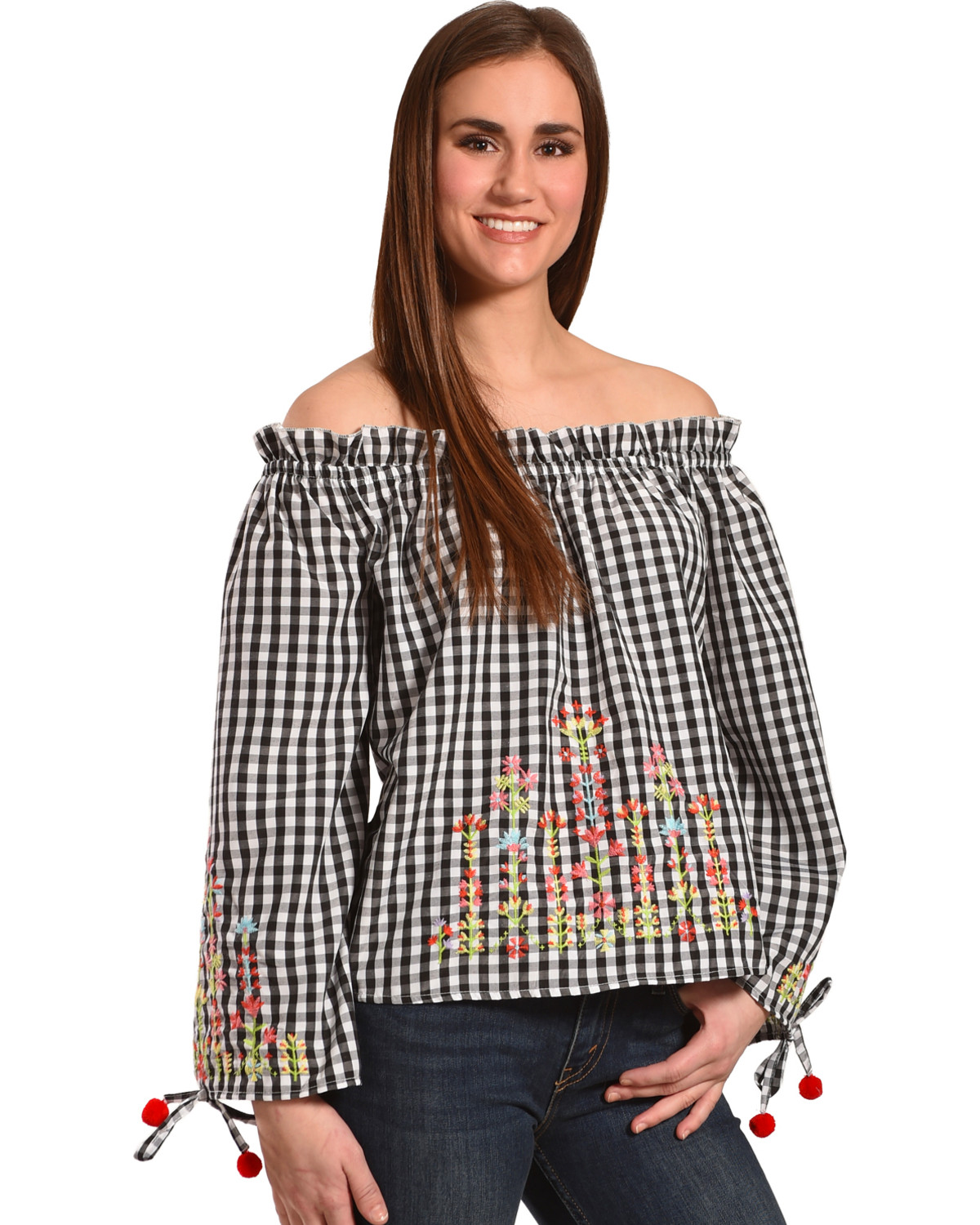 26878f18746 Derek Heart Women's Embroidered Gingham Off The Shoulder Top