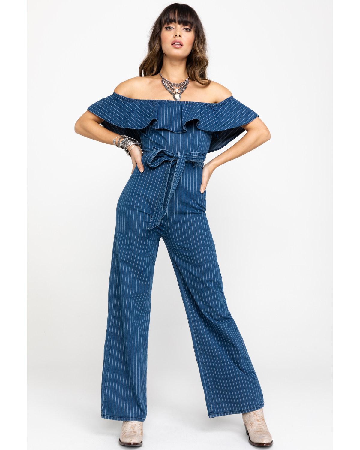 9d8893ae04fa Flying Tomato Women s Pinstripe Off Shoulder Belted Jumpsuit