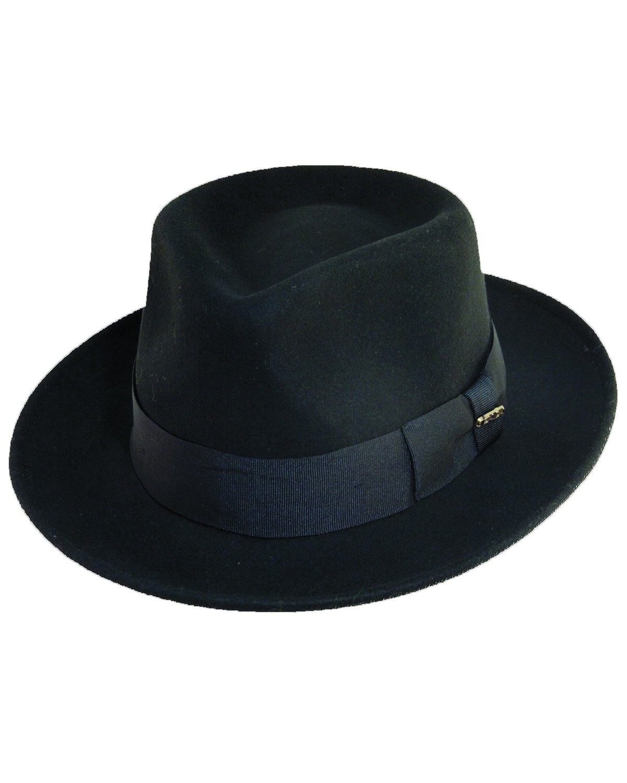 16eeaf50d6d Zoomed Image Scala Fashion Black Wool Felt Fedora Hat, Black, hi-res