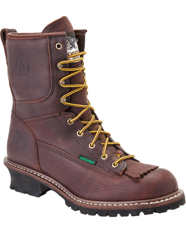 Georgia Boot Steel Toe Waterproof Logger Boot Chocolate G7313