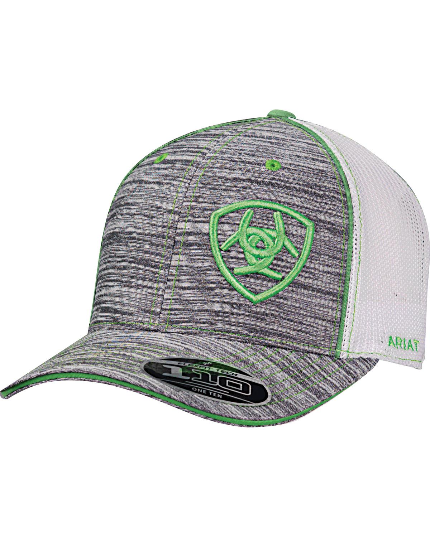 66b9a6a19e37d Ariat Men s Grey Offset Green Shield Baseball Cap