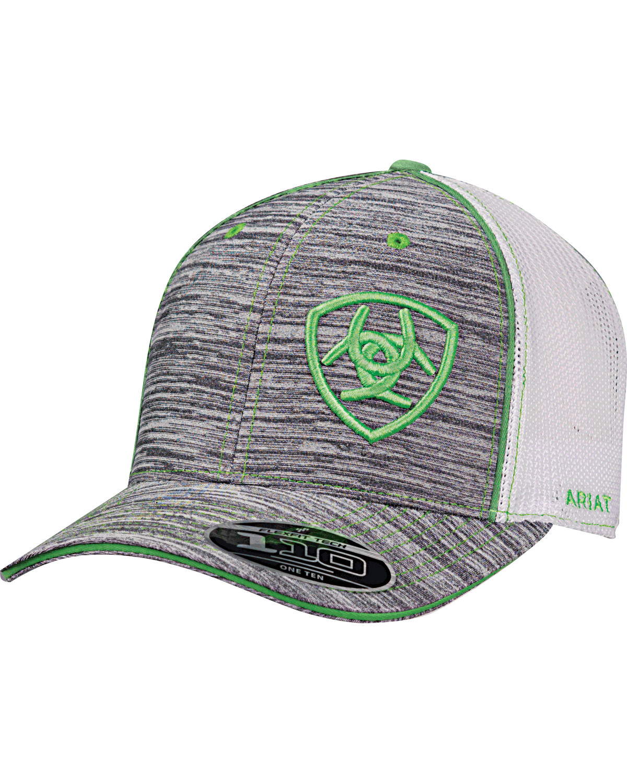 Ariat Men s Grey Offset Green Shield Baseball Cap  c83005c0f12