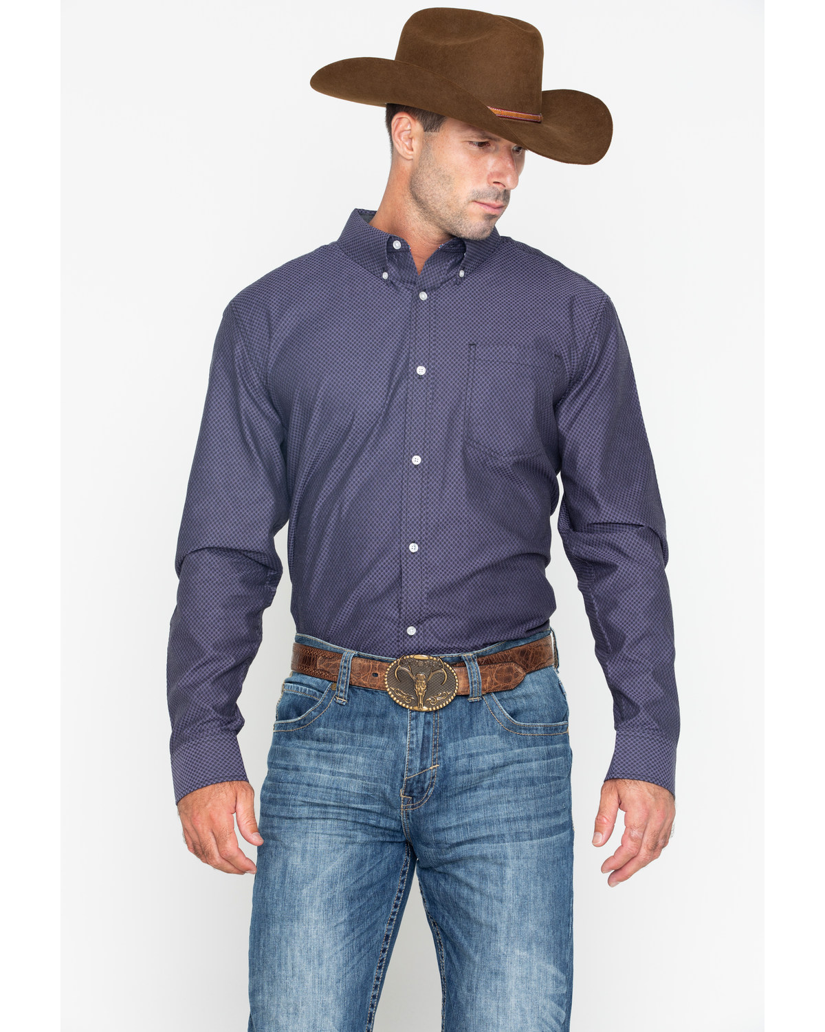 fa5c6316 Zoomed Image Cody James Core Men's Purple Hazy Geo Print Long Sleeve  Western Shirt , Purple, hi