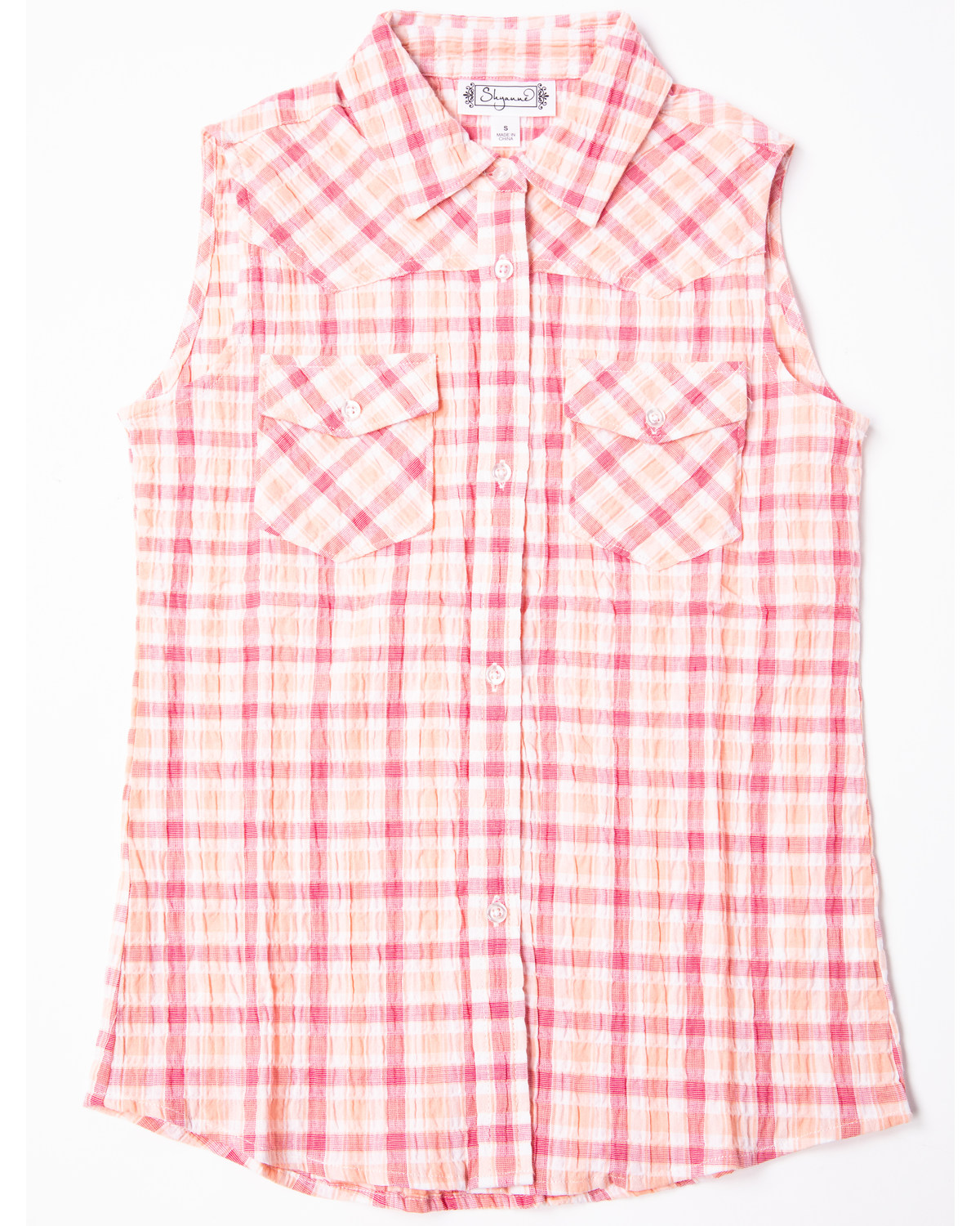 41bcb22e1 Zoomed Image Shyanne Girls' Check Plaid Sleeveless Western Top, Pink, ...