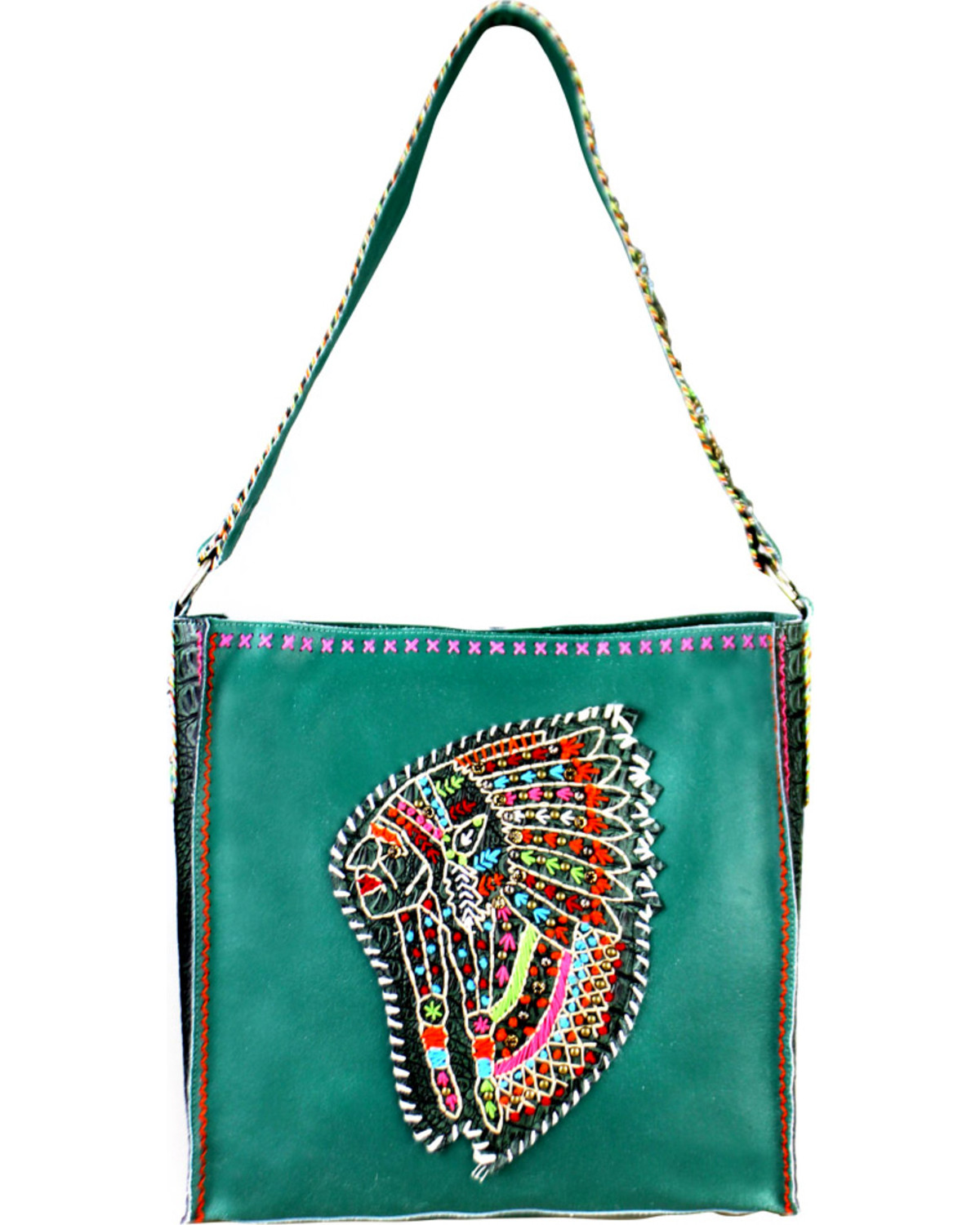 Montana West Women S Delila Leather Embroidered Indian Chief Tote Bag