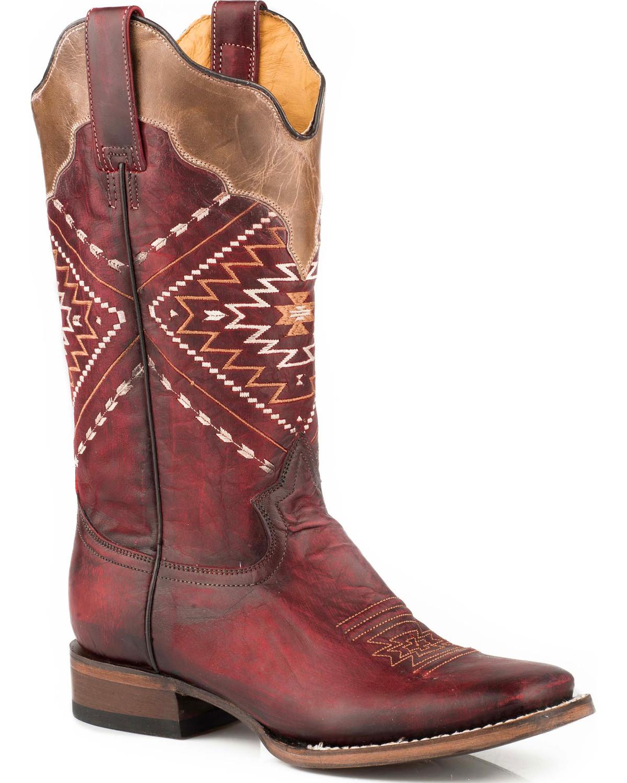 b43e2786e0b Roper Women's Burgundy Burnish Leather Boots - Square Toe