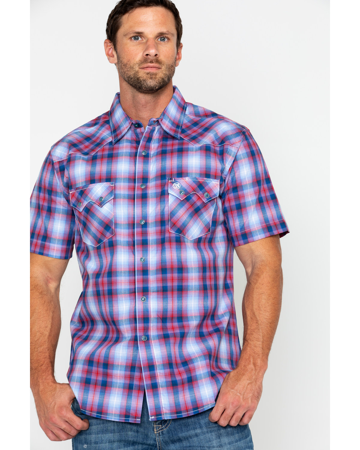 346baf0f Zoomed Image Wrangler Retro Men's Med Plaid Short Sleeve Western Shirt ,  Red, ...