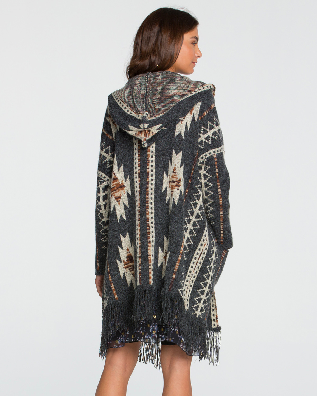 Miss Me Women's Aztec Printed Fringe Hooded Cardigan | Boot Barn
