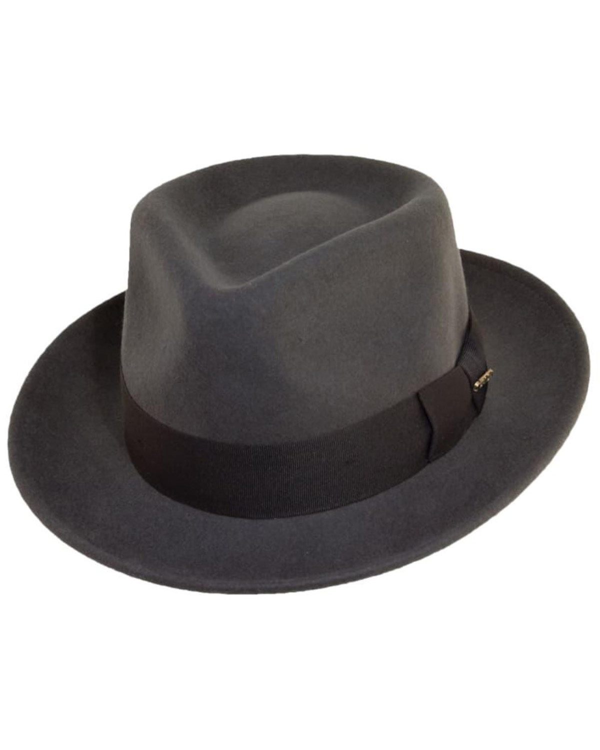 76d4c5eb74e26 Scala Fashion Gray Wool Felt with Grosgrain Trim Fedora Hat
