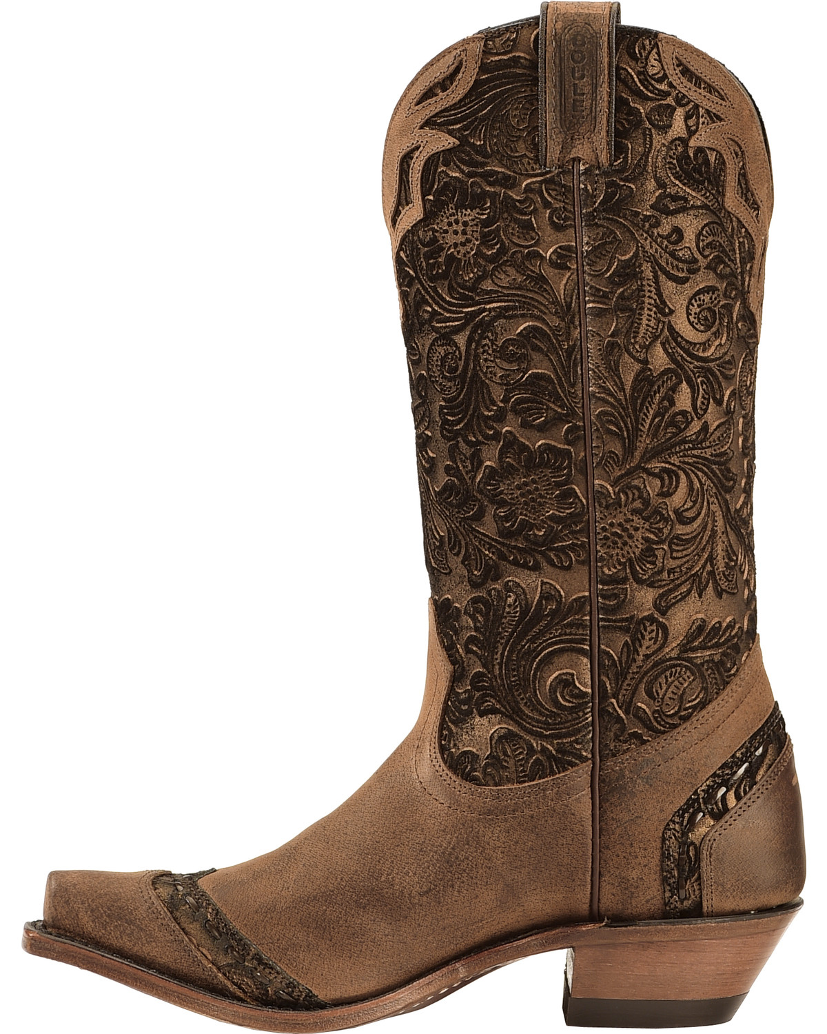 Boulet Fancy Hand Tooled Inlay Cowgirl Boots