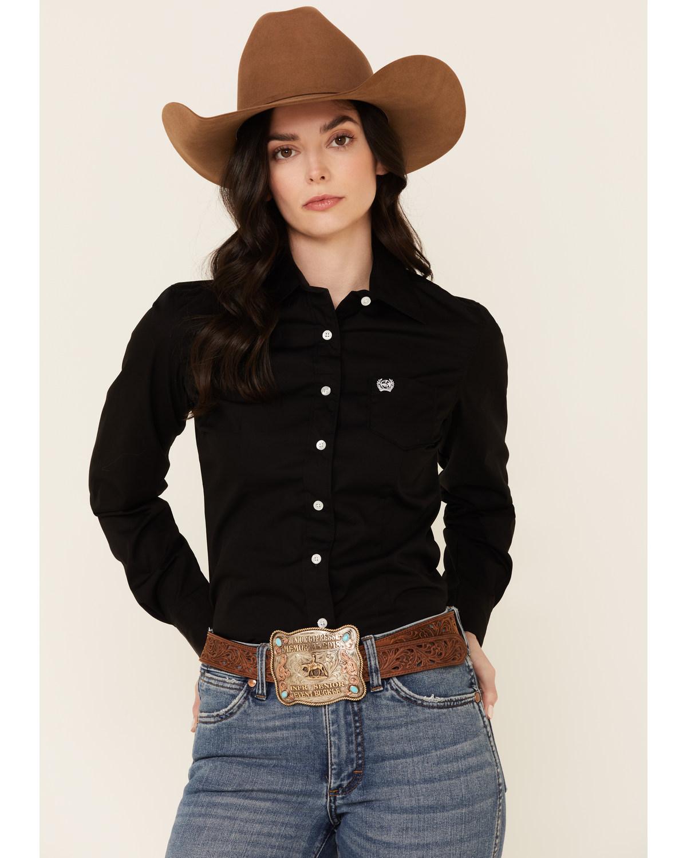 1c894a02a Zoomed Image Cinch Women's Western Weave Pocket Shirt, Black, hi-res