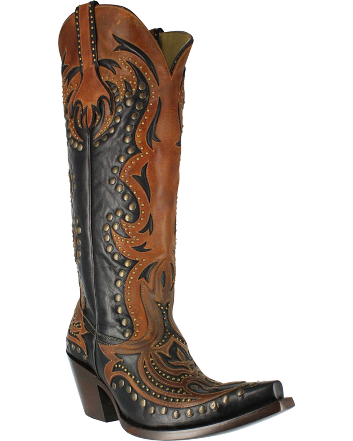 8351c489903 Corral Women s Tall Top Inlay and Stud Western Boots