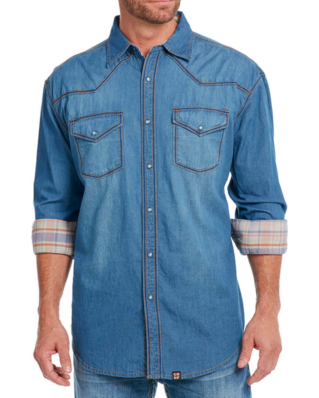 7da61e4643 Cowboy Up Men s Thick Stitch Chambray Western Shirt
