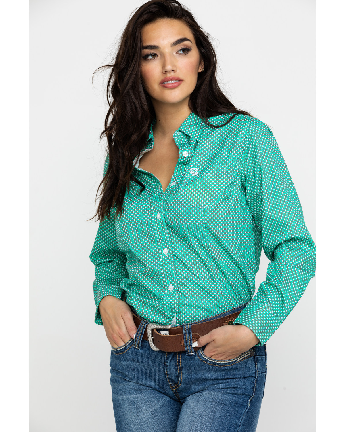 a2ac310c4 Zoomed Image George Strait By Wrangler Women's Geo Print Button Front  Western Shirt , Green, hi-