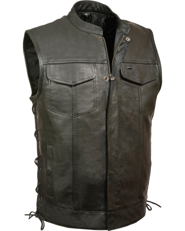 Mens Leather Snap//Zip Side Lace MC Vest Black