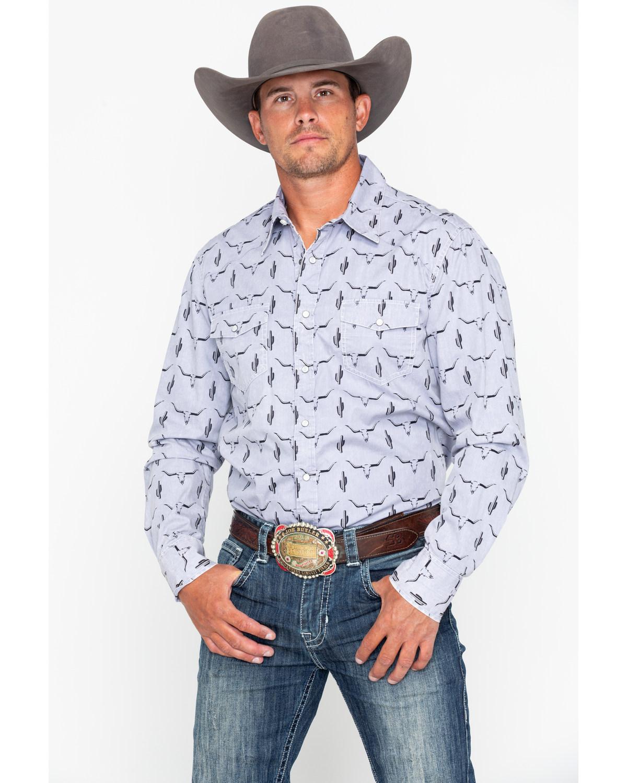 4ca75a169b74b Rock   Roll Cowboy Men s Longhorn Skull Print Long Sleeve Western Shirt