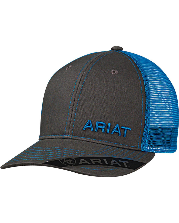 c39865ed935 Ariat Men s Grey with Pink Offset Baseball Cap