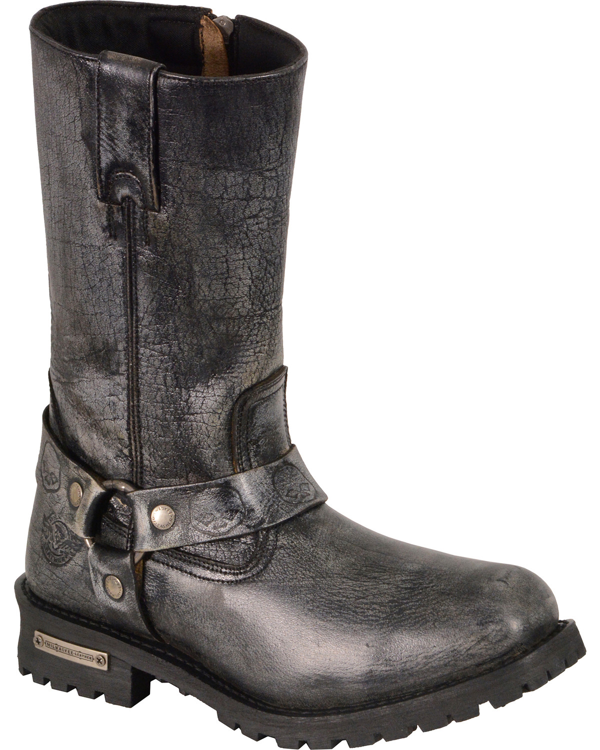 Black, Size 9.5 Milwaukee Leather Mens Classic Boots with Buckle Detail