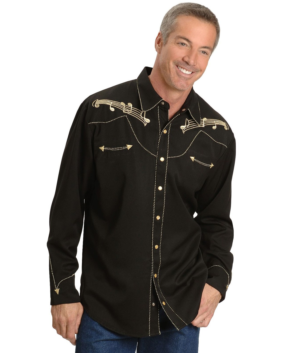 Scully Men S Retro Embroidered Music Note Western Shirt Boot Barn