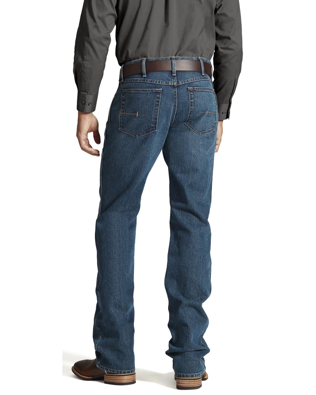 5ed694b86ab Zoomed Image Ariat Men's Rebar M4 Low Rise Boot Cut Jeans, Denim, ...