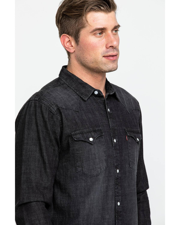 d5a0f612 Mens Black Denim Long Sleeve Shirt