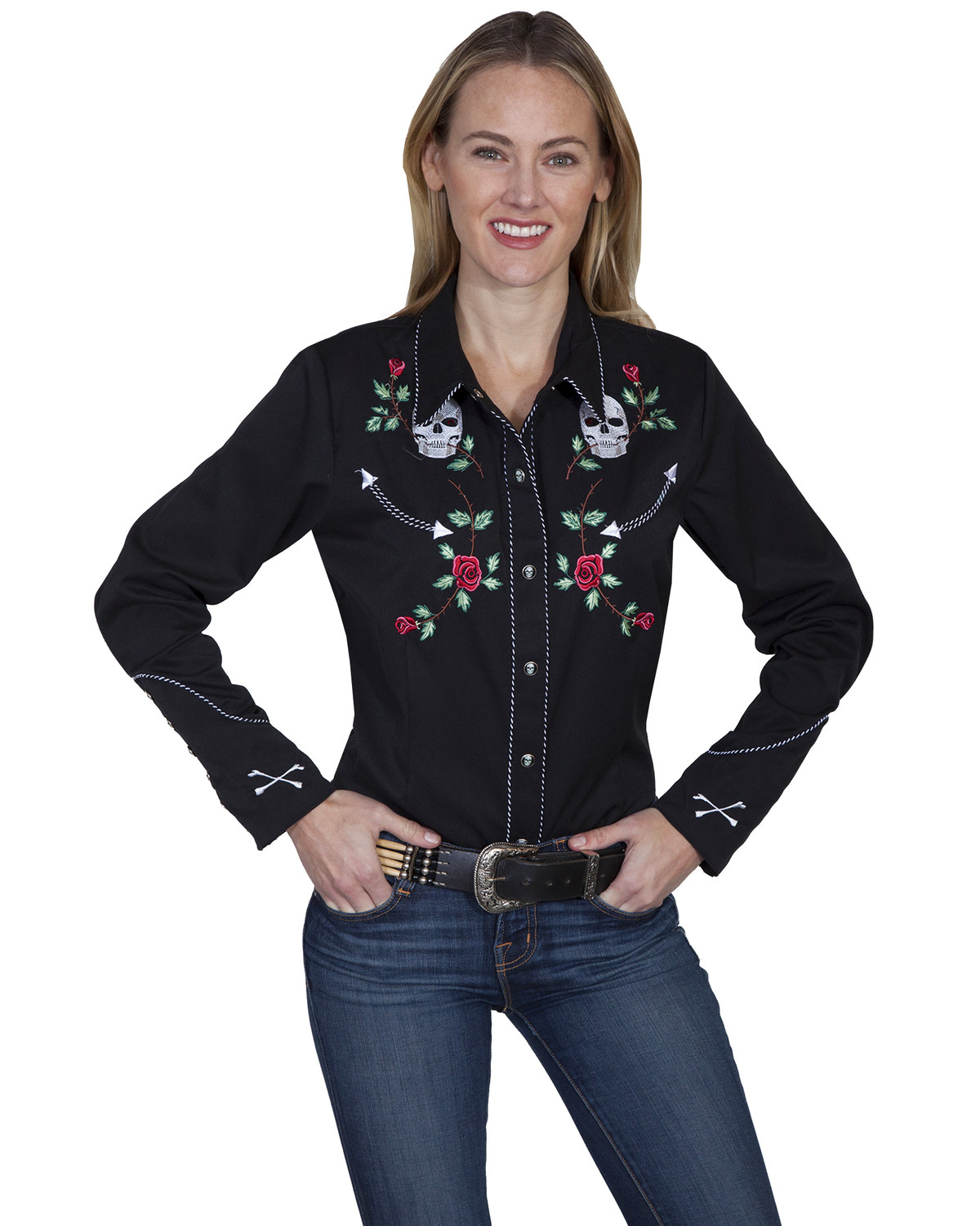 274f473c5deeb2 Zoomed Image Scully Women's Skulls and Roses Retro Western Shirt, Black,  hi-res