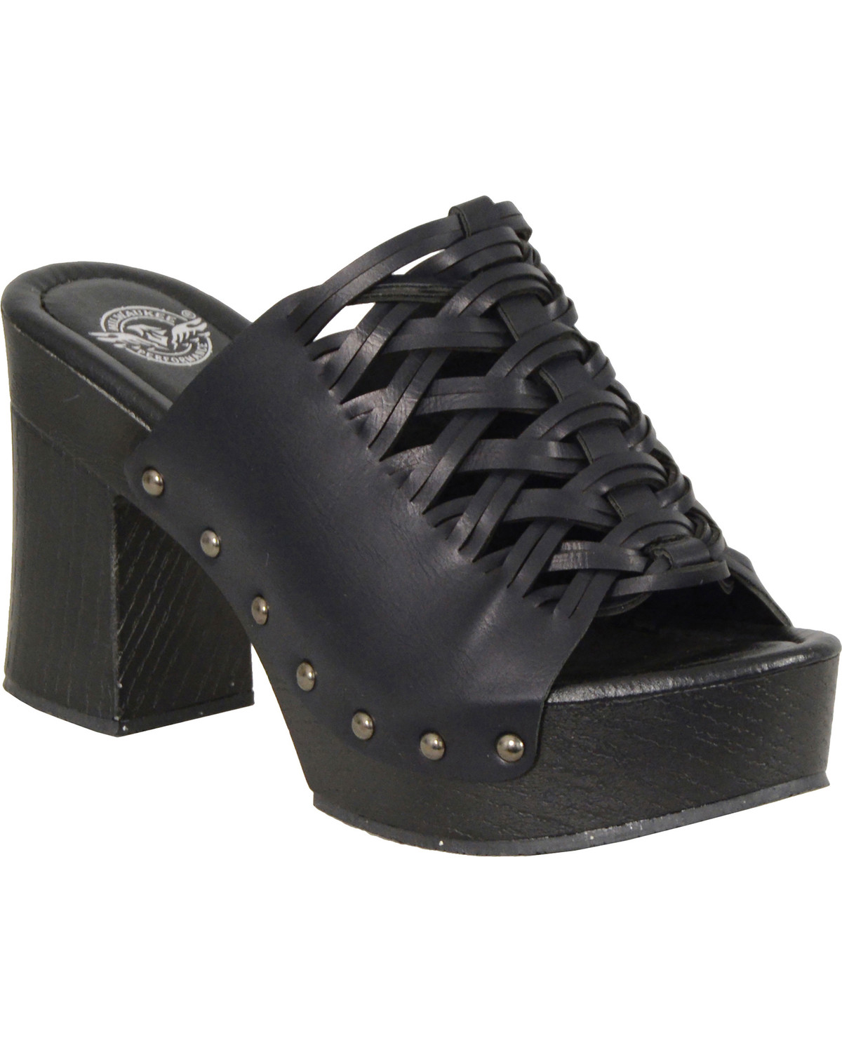40c48e9ff4a Milwaukee Leather Women s Black Studded Lace Top Platform Shoes ...