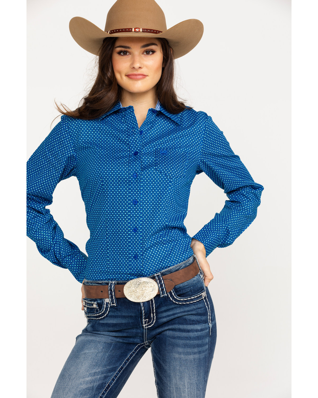 65ab2be209a Cinch Women s Dotted Geo Print Logo Long Sleeve Western Shirt