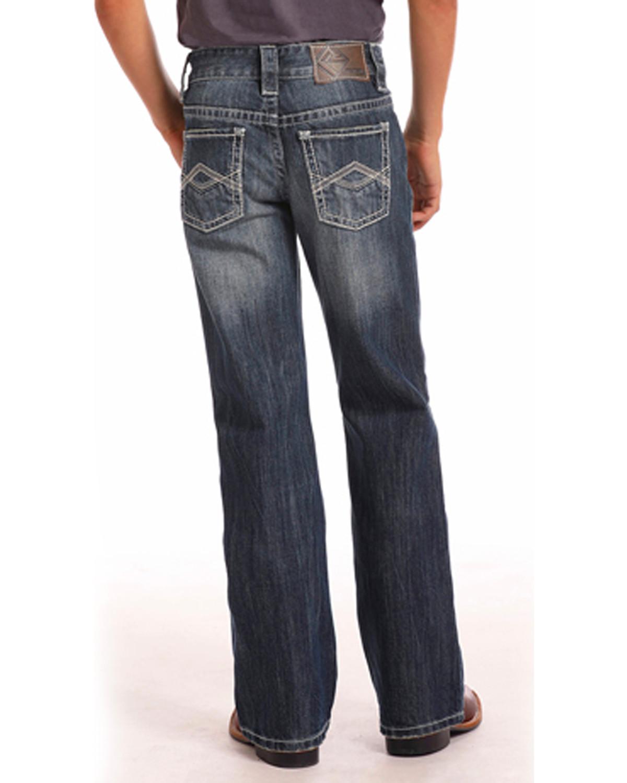 783949211 Zoomed Image Rock & Roll Cowboy Boys' Triple A Pocket Dark Wash Jeans (4-20